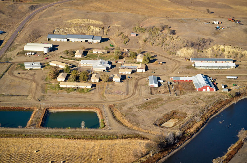 Aerial View High Angle View Rural Scene Building Exterior Built Structure Landscape Building Field Aerial Aerial Photography Aerial Shot Aerial Landscape Colony Buildings Community Hutterite River Valley Farm Farming Agriculture Livestock Poultry Compound