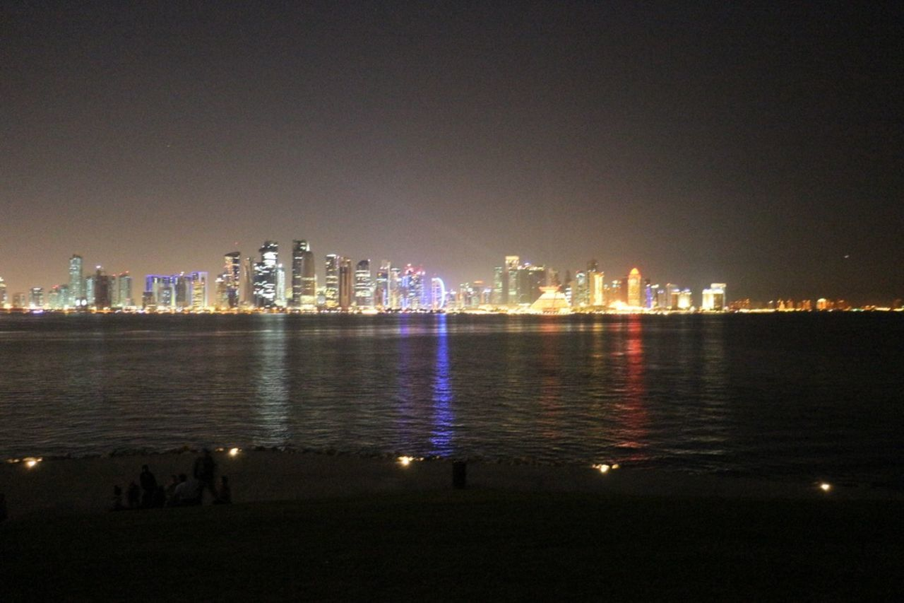 illuminated, city, night, architecture, building exterior, cityscape, skyscraper, built structure, urban skyline, river, city life, travel destinations, water, downtown district, waterfront, modern, sky, outdoors, clear sky, no people, nature