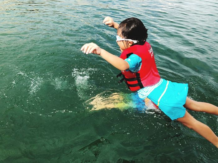 High angle view of boy in sea
