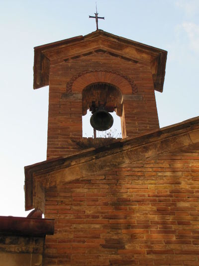 Clang San Gimignano Bell Tower Architecture Bell Blue Sky Golden Brick Cross