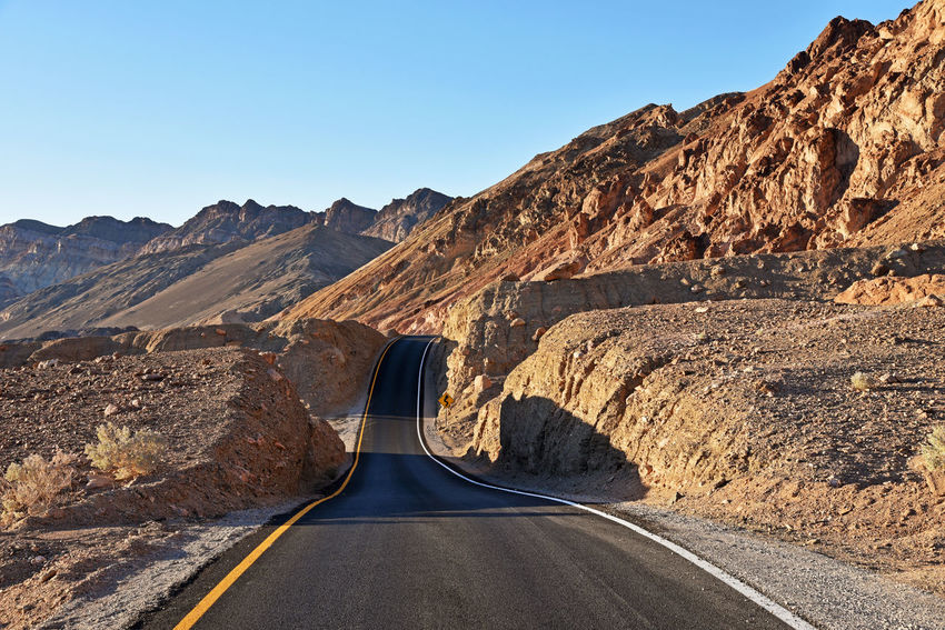 Artists Drive in Death Valley National Park, California California Death Valley Desert National Park Arid Climate Asphalt Landscape Mountain Range Mountains Physical Geography Road The Way Forward