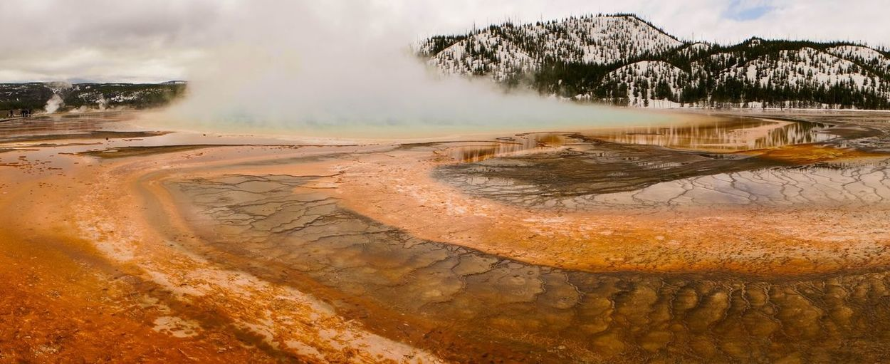 Panoramic shot of grand prismatic spring in yellowstone national park