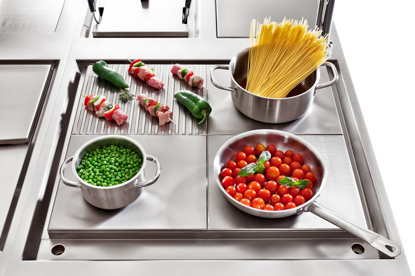Industry Skewers Spaghetti Bowl Food Food And Drink Grill Grilled Cooking Hardness Indoors  Italian Food Kitchen No People Peas Peppers Pots Professional Restaurant Satin Stainless Steel  Tomato Vegetable