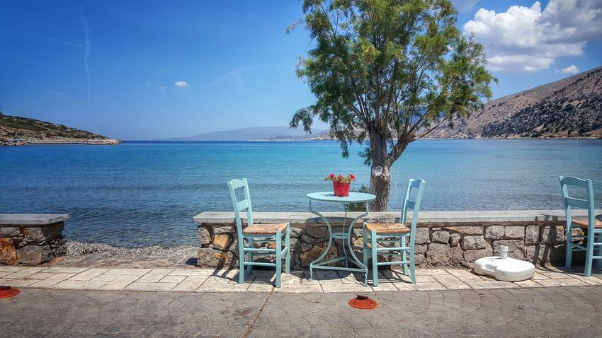 The Essence Of Summer Sea View Sea And Sky Summertime Sunny Day Summer Views Summer Malephotographerofthemonth Chairs Table By The Sea Lifeisbeautiful Summer Vibes Seaside - Greek Islands Chios Greece Miles Away