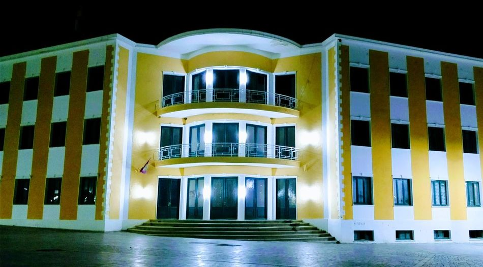 Municipality Building Architecture Night Built Structure No People Building Exterior Black Background Outdoors Erseka ALBANIA❤️