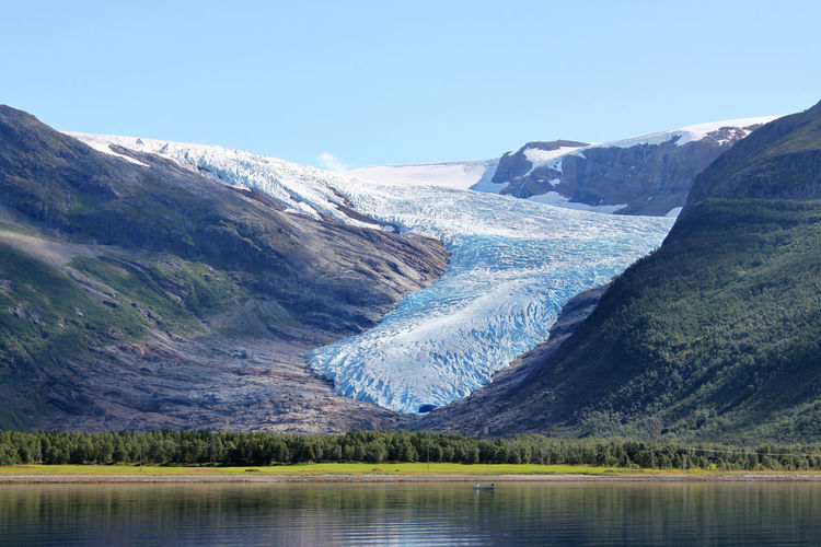 Scenic View Of Glacier On Mountain