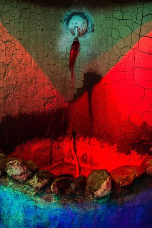Color Contrast Red And Blue Colors And Patterns Imam Hossen Mourning Ceremony Moharram
