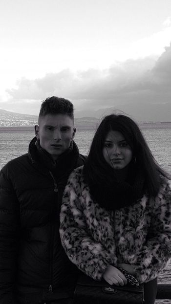 Blackandwhite Young People Front View Sea Background Real People Winter