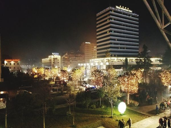 City By Night Tirana International Hotel Night Skyscraper Illuminated City Architecture Built Structure Building Exterior Outdoors People