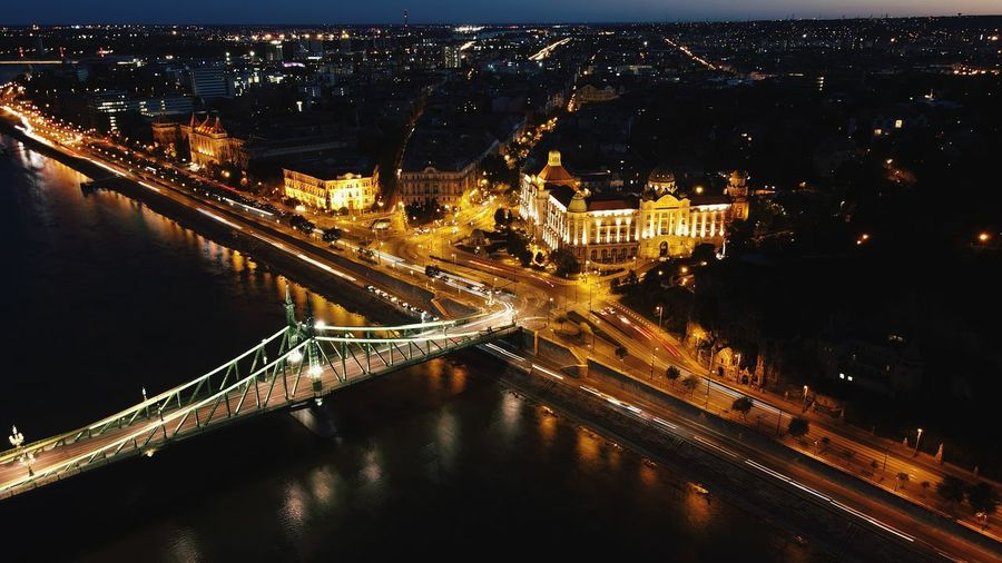 Photo on drone night in budapest