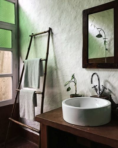 Bathroom Bathroom Sink Domestic Bathroom Domestic Room Faucet Home Home Interior Hotel Room Household Equipment Hygiene Indoors  Luxury Mirror No People Plant Sink Sunlight And Shadow Sunlight, Shades And Shadows Towel Travel Destinations Wall - Building Feature Wash Bowl Window