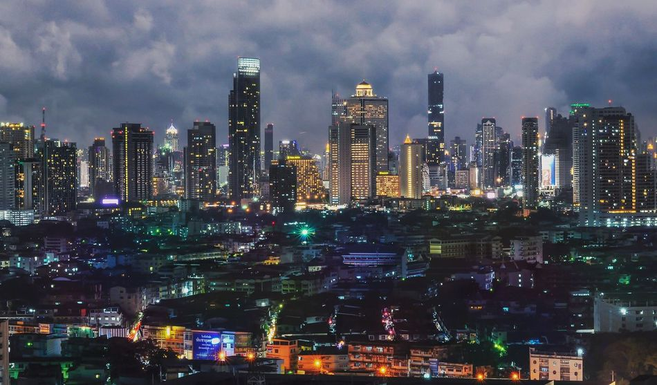 Bangkok pano City Skyscraper Building Exterior Architecture Cityscape Illuminated Urban Skyline Tower Night Travel Destinations Modern Sky Outdoors No People Cloud - Sky Futuristic Downtown District Transportation Bangkok Thailand