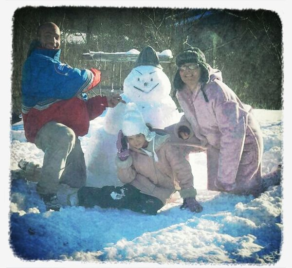 my little sister my mom and i did a snow man...lol