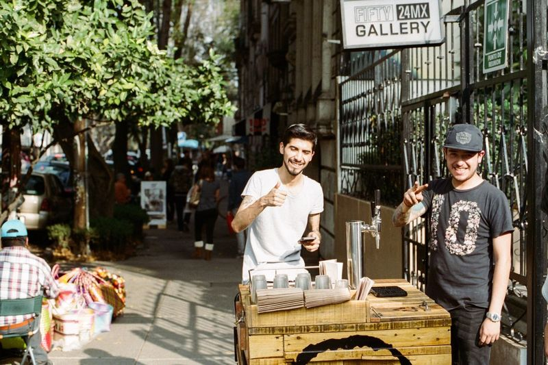 Mexico City Roma Mexico City Draft Coffee Coffee Draft Two People Outdoors Day City Smiling Street Food Filmisnotdead Filmcamera Canon AE-1 Film Photography Mexico