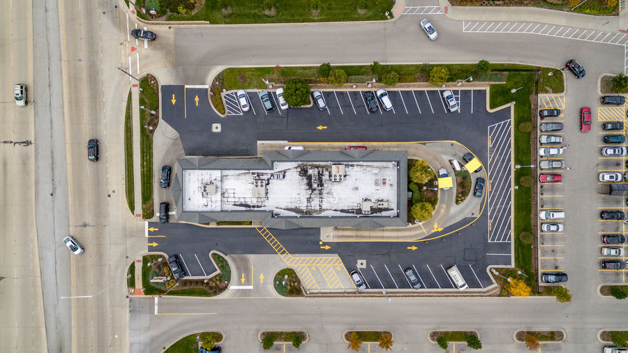 Aerial View Asphalt Directly Above High Angle View Mcdonalds No People Roads Tarmac