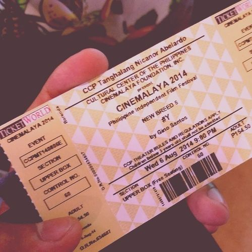 Finally, I got a ticket for Cinemalaya HashtagY on Wednesday :)