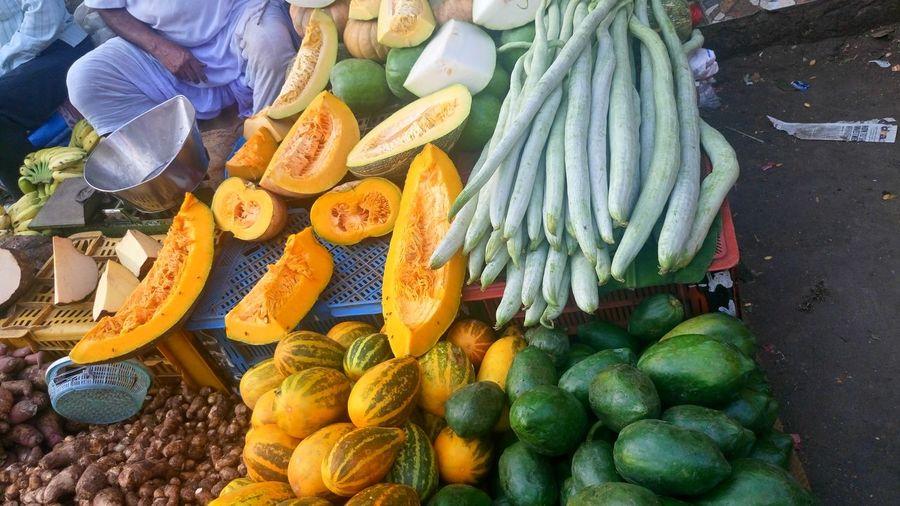 Vegetables at market stall for sale