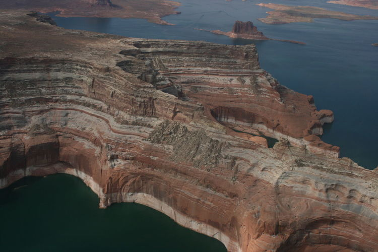 Aerial View Of Rock Formations At Glen Canyon