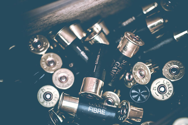 Shotgun cartridges. Pheasant Shoot Pheasant Shooting Shooting Ammunition Shotgun Cartridges Shotgun Shells Backgrounds Bullets Close-up Country Life Day Firing  Indoors  Metal No People Shells Shooting Shotgun Shotgun Shell Technology