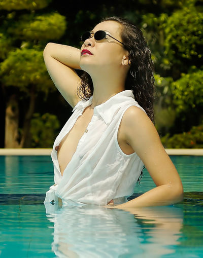 See-thru Woman Beautiful Woman Day Fashion Girl Leisure Activity Lifestyles Nature One Person Outdoors Real People See-through Sheer Sunglasses Swimming Pool Water Young Adult Young Women