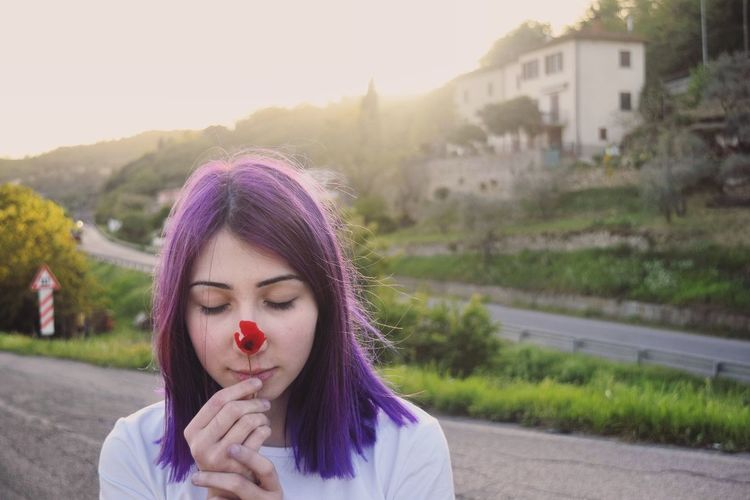 Relaxing Still Life Macro Hairstyle Hair Purple Poppy Flowers Sunset Contemplating