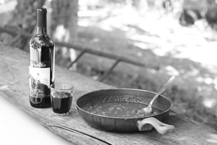 Beans Eating Outside Bean Stew Cooking Pan Food Food And Drink Healthy Eating No People Table Western Beans Wine Wineglass