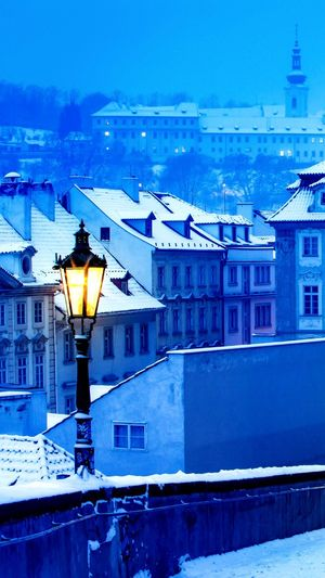 #Snow Architecture Building Exterior Blue Built Structure No People Illuminated Outdoors Snow Winter Nature Sky