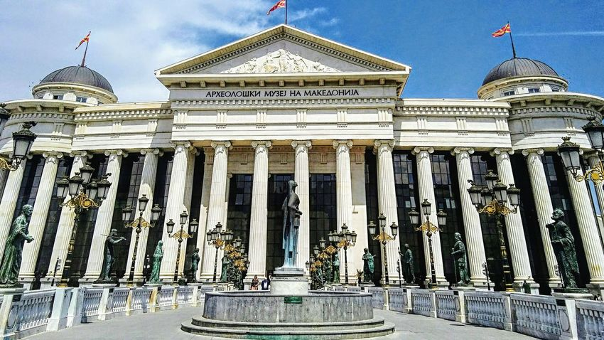 Museum of archeology,Skopje Pillars Columns Columns And Pillars Lanterns View From The Bridge Museum Archeologymuseum Outdoor Photography Facade Building Architecture Skopje Macedonia Architecture Building Exterior Flag Architectural Column Built Structure Travel Destinations Outdoors No People