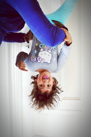 Wonderful Moment Daughter Playing Hanging Crazy Laughing Pastel Power Hello Kitty Up Side Down Youth Beautiful Girlpower Showcase June Love ♥ Hanging Upside Down Love♡