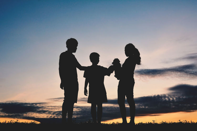 Boy Dog Family Love People Pet Silhouette Standing Sunset