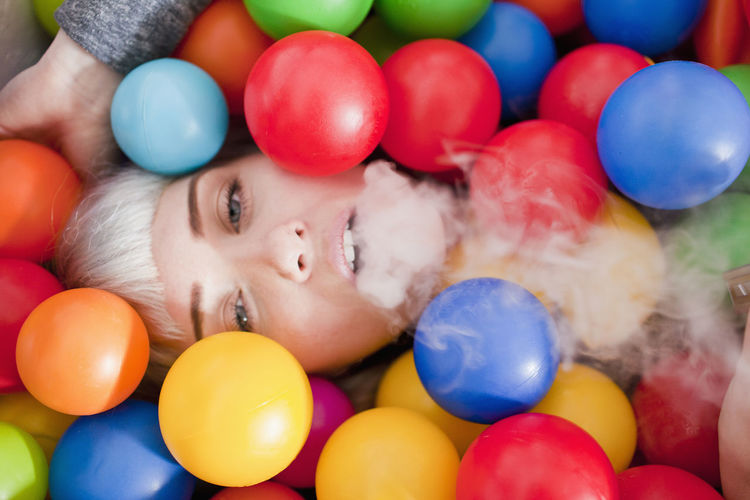 Portrait of boy with balloons