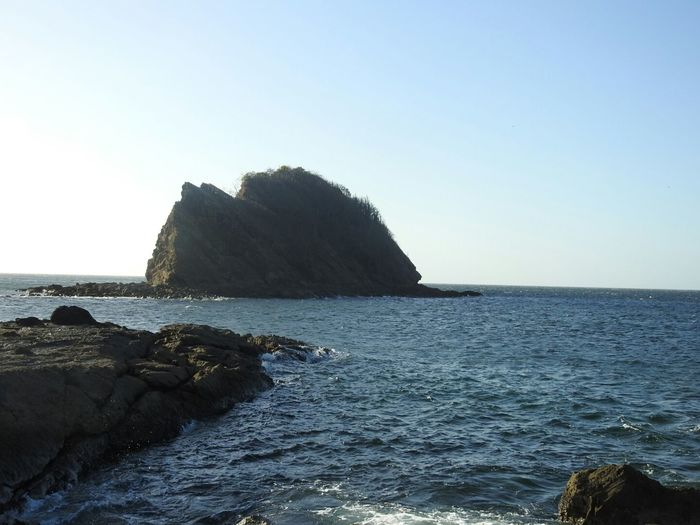 Costa Rica Guanacaste  Playa Rajada Clear Sky Sea Water Beach Rock - Object Sky Horizon Over Water Rock Formation Geology