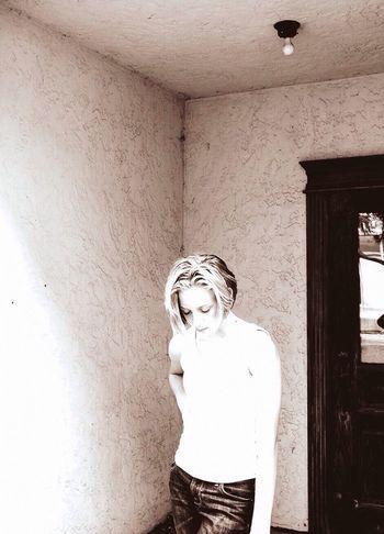 Photographybybrookechanelle Blk N Wht Blackandwhite Sepia Teen Girl Girl In Doorway Sad Girl Girl Looking Down Teenager Teen Model People And Places The Portraitist - 2017 EyeEm Awards