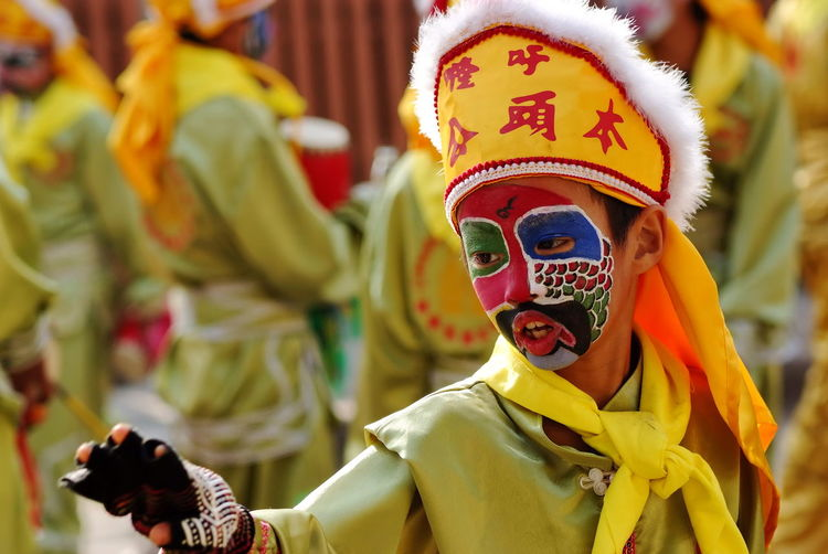 Close-Up Of Boy Wearing Carnival Costume