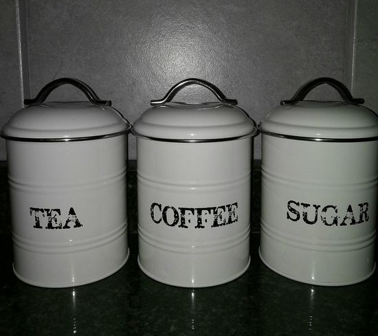 Tea Time Coffee Time Metal Tea And Coffee Containers Text Tea Tin Suggar Pot Sugar No People Close-up Tin Day Black & White Taken From Smartphone Camera Coffeeaddict Close Up Photography Antiques No People, Sugar Rush