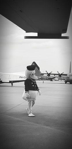 Puppet Donald Duck Black And White Full Length Sky