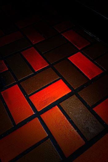 Red Pattern No People Indoors  Low Angle Floor Tiles Step To The Right And Proceed