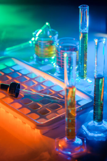 Research Science Healthcare And Medicine Scientific Experiment Test Tube Education Glass - Material Chemistry Laboratory Close-up Indoors  Glass Blue Industry Transparent Laboratory Glassware Medical Research Chemical Biology Biotechnology