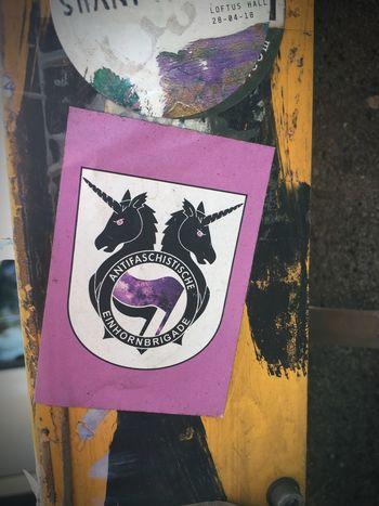 Antifaschistische Einhornbrigade Sticker Representation Communication Art And Craft Sign Close-up No People Symbol Message