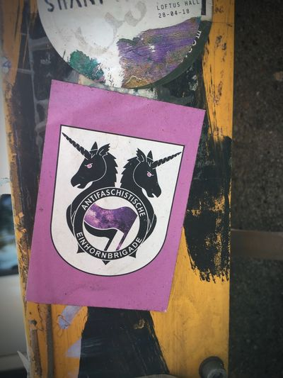 Antifaschistische Einhornbrigade Sticker Representation Communication Art And Craft Sign Close-up No People Symbol Message