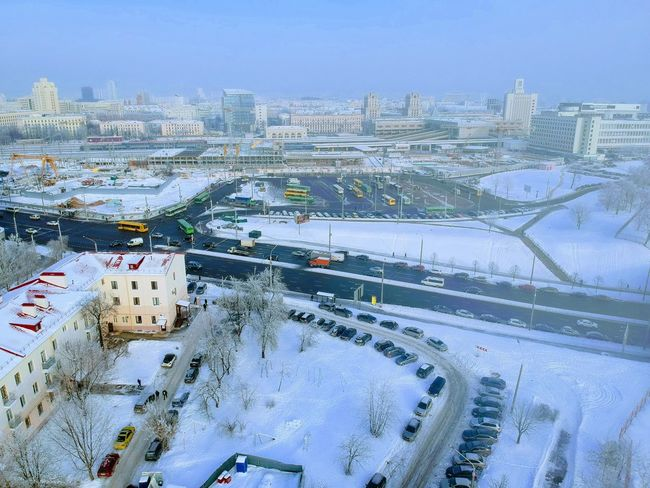 City Building Exterior Architecture Built Structure Cityscape Sky Nature Winter Transportation Cold Temperature Day Outdoors Snow Aerial View High Angle View Road No People Building