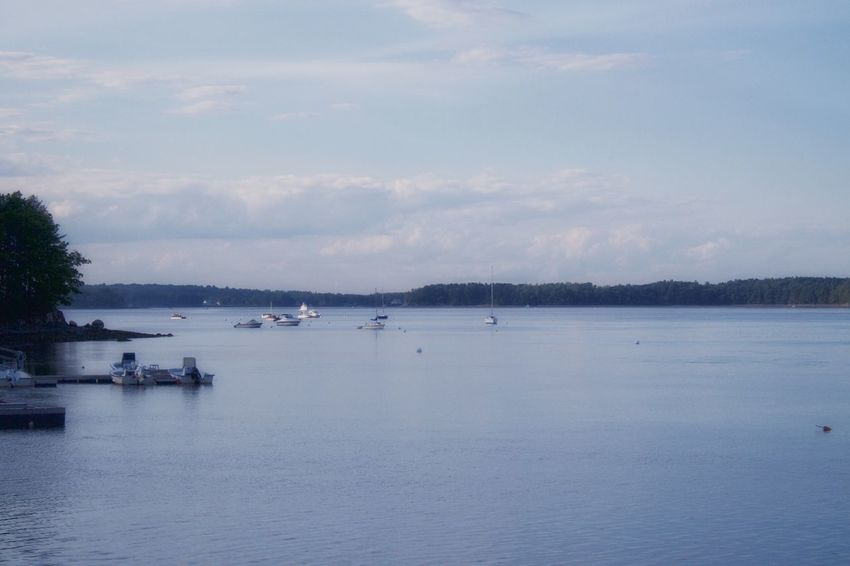 Adams Point Wildlife Sanctuary Bay Beauty In Nature Boat Boats Cloud - Sky Nautical Vessel Sky Tranquil Scene Water Waterfront