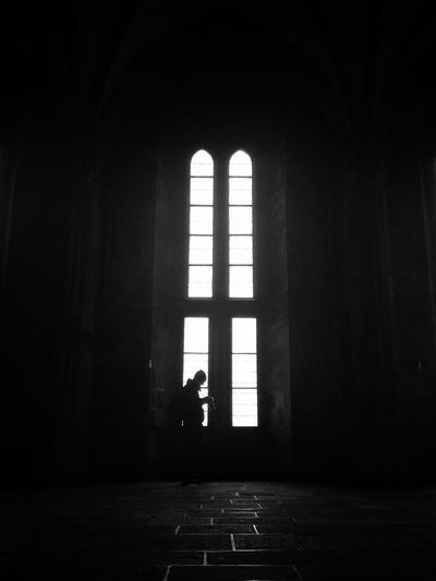 ...and I wonder, what is your subject? Have I not seen something good, interesting enough, to be capture? Black And White Photography Taking Photos Capturing Indoors  Darkness And Light Interior Church Cathedral Light And Shadow People Man Tourists Standing Window High Ceilings Abbaye Abbey Showcase: February The Tourist