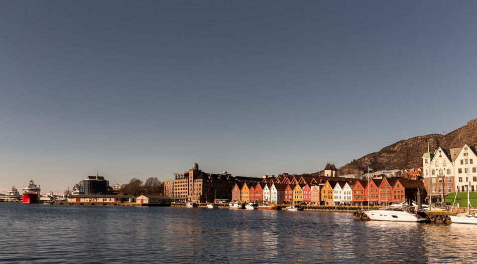 Building Exterior Water Architecture Sky Transportation Built Structure Mode Of Transportation Waterfront Clear Sky Copy Space Nature Building City River No People Travel Day Passenger Craft Outdoors Sailboat Bryggen Oldtown Norway Bergen