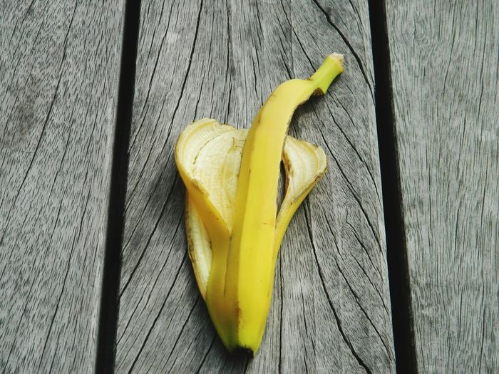 Close-Up Of Banana Peel On Wooden Table