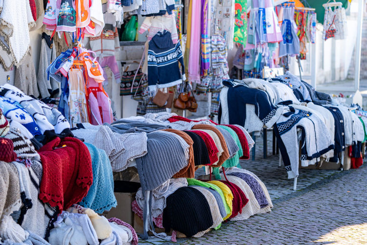View of textile for sale in market