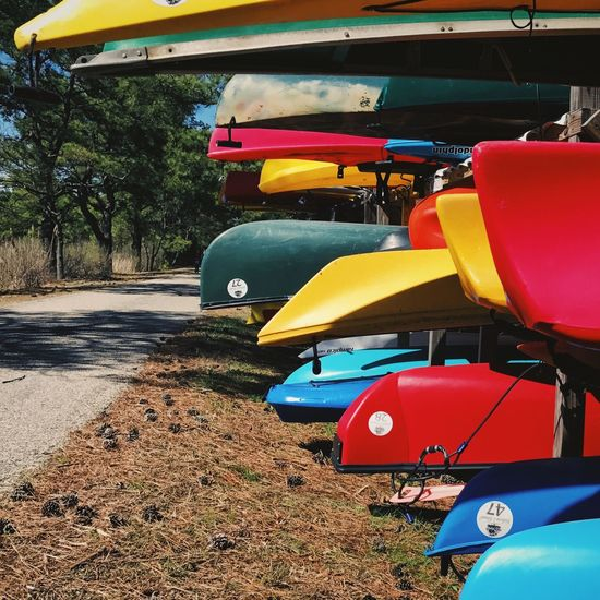 Multi Colored Yellow Transportation No People Tree Outdoors Kayaks Kayaks In Racks Afternoon Light Red