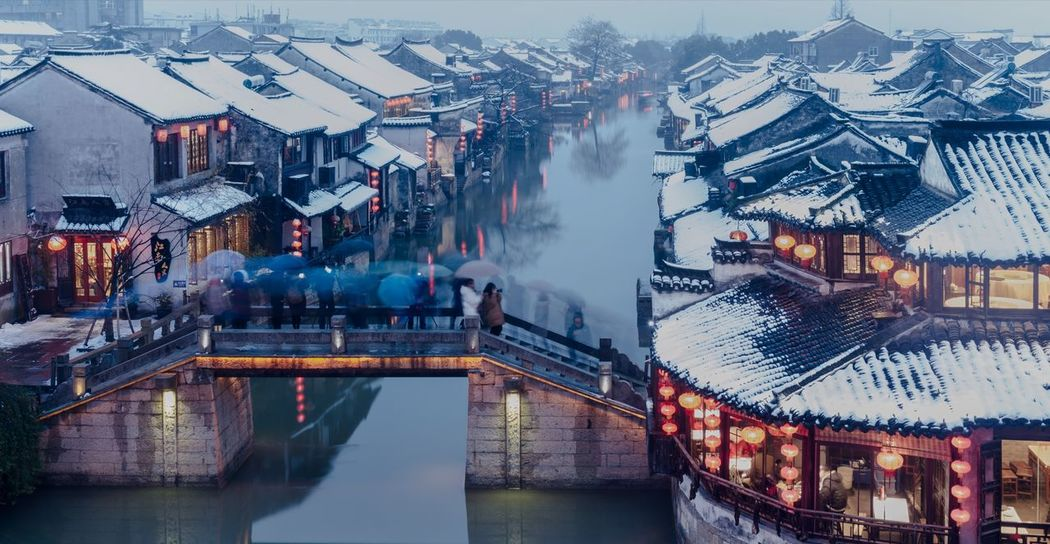 Snowy Xitang Ancient Town Water Town Jiashan China An Eye For Travel Night Building Exterior Reflection Architecture Water Winter Built Structure Snow Travel Destinations Adventures In The City The Traveler - 2018 EyeEm Awards