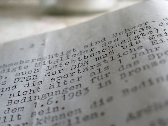 Tour im Stadtbad Lichtenberg II GDR Historical Documents Text Close-up Document Historical History No People Paper Text Typewriter Discover Berlin