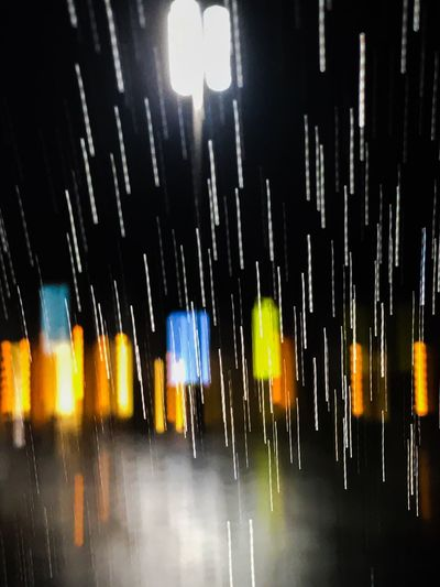 Wet illuminated during rainy season at night
